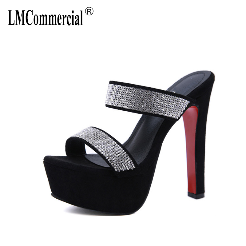 Summer High-heeled Slippers Water-drilling Slippers womens luxury shoes designers Sexy Peep Toes Woman Slides Outdoor Party