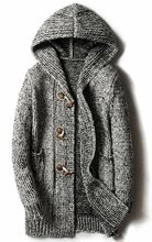 Mens Casual Solid Horn Button Hoodie Long Knitted Cardigan Sweater Coat