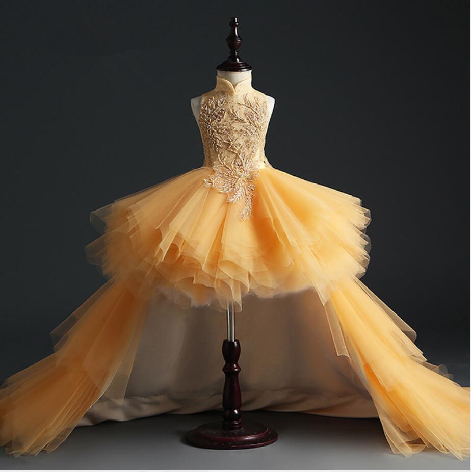 glizt longo trailing ouro renda primeiro comunhao vestido contas tule vestido de baile meninas pageant vestido