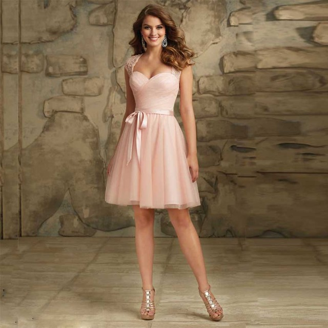 Junior Bridesmaid Dresses Sexy V Neck Cap Sleeves Open Back Cheap