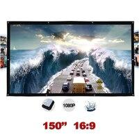 Открытый проекционный экран 150 дюймов 16:9 Портативный Настенный проектор экран s Ткань Холст Складная pantalla proyeccion
