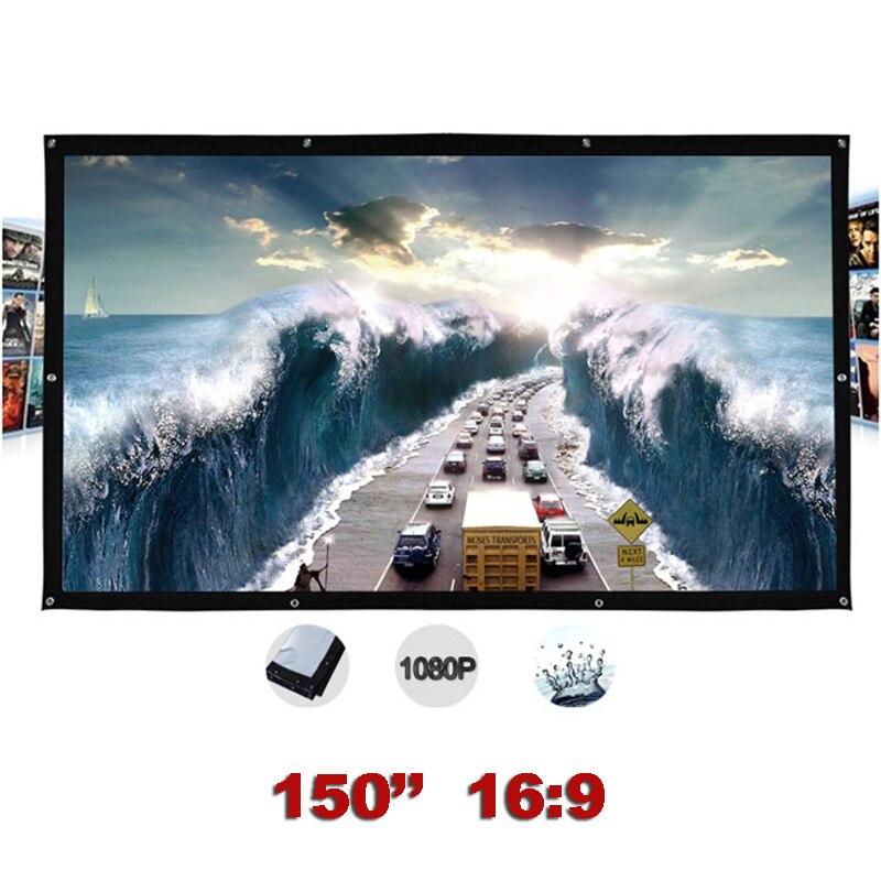 Pantalla de proyección exterior 150 pulgadas 16:9 pantalla de proyector portátil montada en la pared tela lienzo plegable pantalla de proyección-in Pantallas de proyección from Productos electrónicos    1