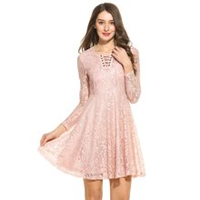 LETEOO Women Lace Dress Autumn Sexy Robe Dentelle Long Sleeve High Waist  Party Dresses Tie Neck 6cdded8d79cc
