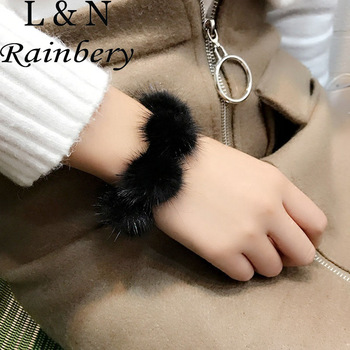 Rainbery New Winter Mink Fur Bracelet Gorgeous Hairy Ball Fashion Jewelry Women Party Luxury Splicing Bracelets Gifts