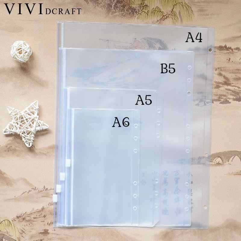 A4 A5 A6 B5 Spiral PVC Zipper Bag Notebook Accessory Dokibook Card Holder Bag Storage Pocket Passport Notebook Accessories