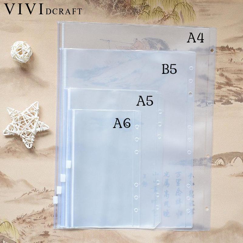 A4 A5 A6 B5 Spiral PVC Zipper Bag Notebook Accessory Dokibook Card Holder Bag Storage Pocket Passport Notebook Accessories