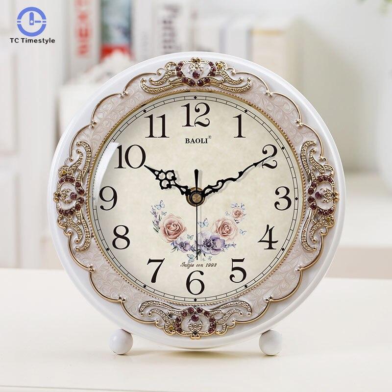 European Silent Bedroom Alarm Clock Modern Living Room Creative Table Fashion Idyllic Garden Sitting Quartz Design Watch