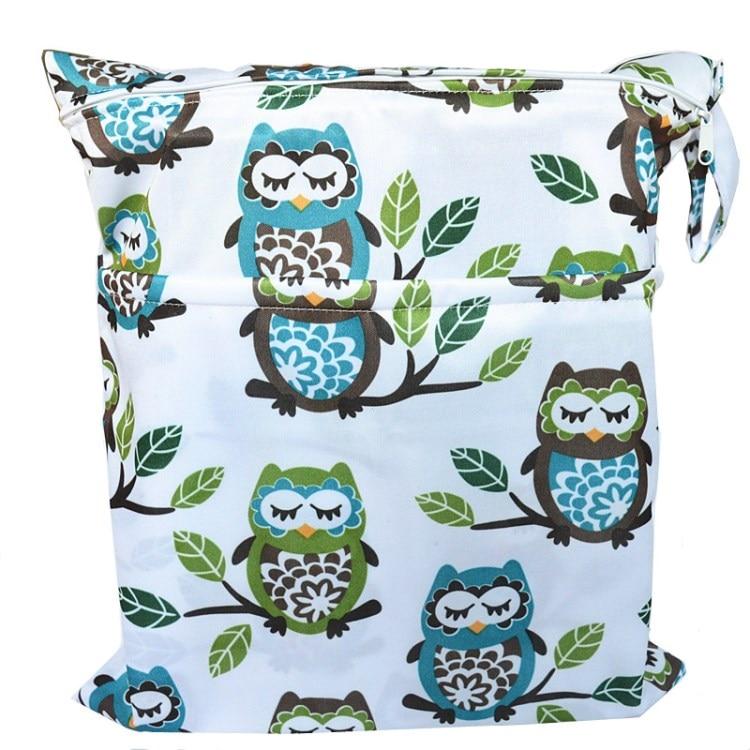 [Sigzagor] 1 Влажная сухая сумка с двумя молниями для детских подгузников, водонепроницаемая сумка для подгузников, розничная и, 36 см x 29 см, на выбор 1000 - Цвет: W58 owl and tree