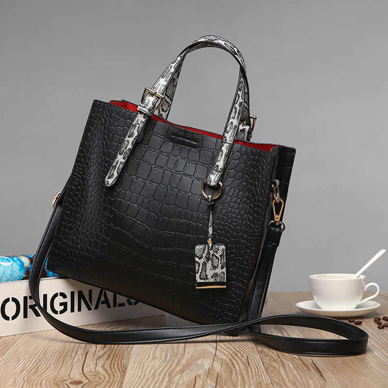 Genuine Leather Handbag Red Crocodile Patent Leather Tote Bag Women Handbags Luxury Women Bags Designer Crossbody Shoulder  C825