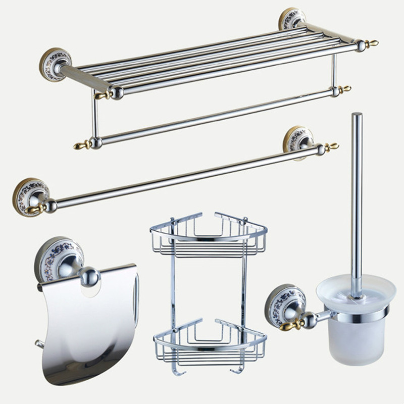 Polished bathroom hardware sets chrome silver bathroom for Ceramic bathroom accessories sets