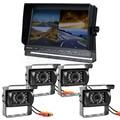 DIYKIT 10 Inch Split Quad Display Rear View Monitor Car Monitor + 4 x Night Vision Rear View Camera Waterproof for Car Truck Bus