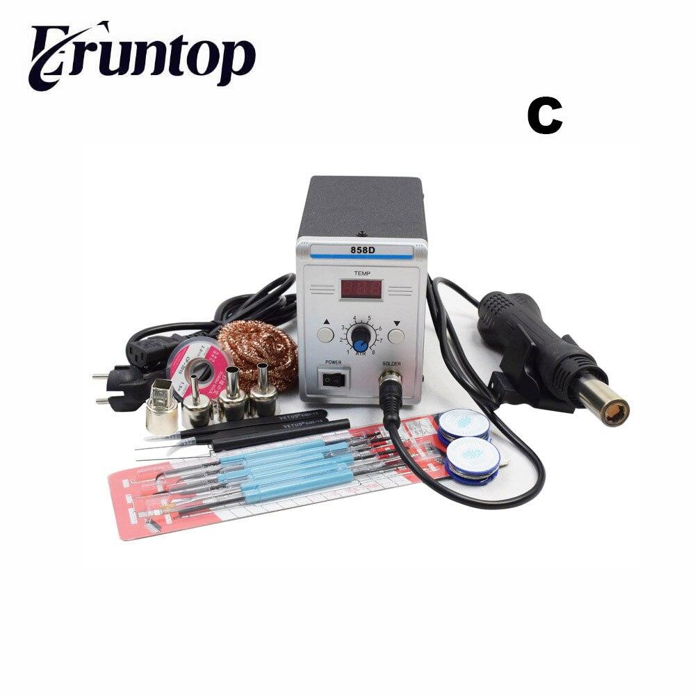 Lead-free Eruntop 858D Soldering Station LED Digital Solder Iron Desoldering Station BGA Rework Solder Station Hot Air Gun
