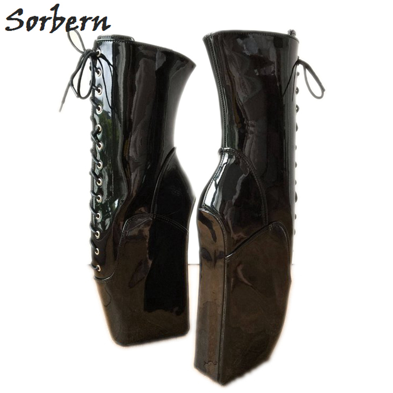 Sorbern Black Shiny Ballet Wedge High Heel Boots Women Big Size 45 Wide Fit Calf Boots
