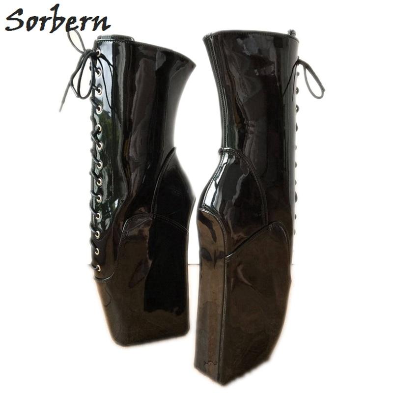 Sorbern black shiny ballet wedge 하이힐 부츠 여성 빅 사이즈 45 wide fit calf boots tall pull up 부츠 디자이너 신발 여성-에서앵클 부츠부터 신발 의  그룹 1