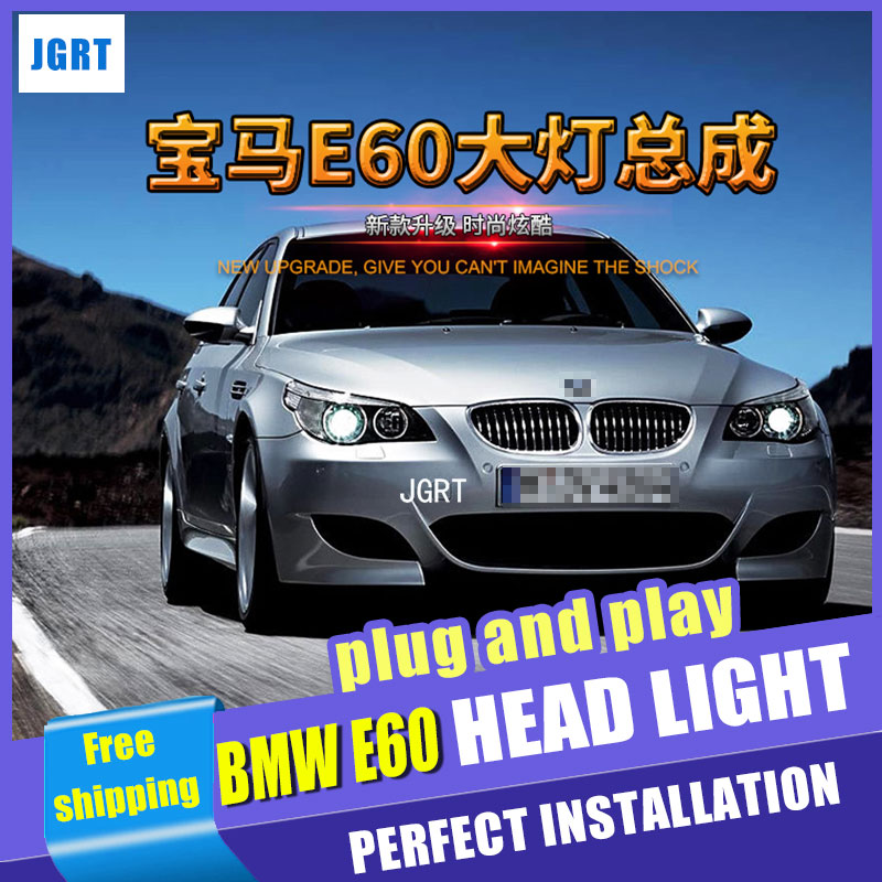 Car Styling For 5 Series E60 headlight assembly 2007-10 For E60 LED head lamp Angel eye led DRL front light H7 with hid kit 2pcs car bumper grill kit with led fog lights drl angel eyes wires for bmw e60 e61 5 series 525i 530i 545i 550i xi 2004 2007 pdk618