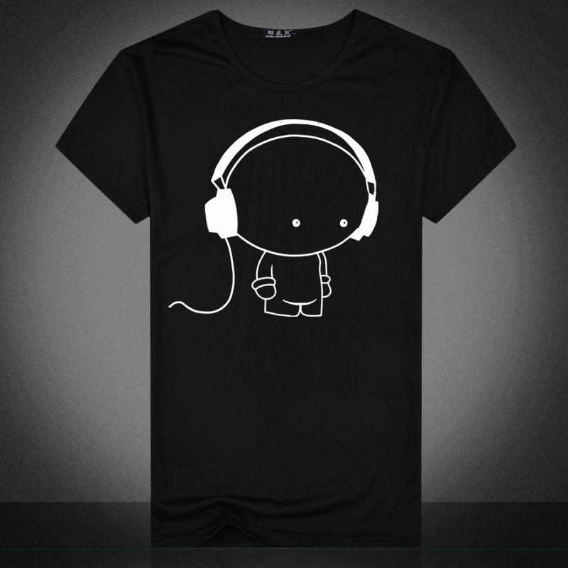 Men's 2017 Summer Headphones Dog Music Printed Plus Size Black T-Shirt Tee Shirt M-2XL Good Elasticity Good Air Permeability