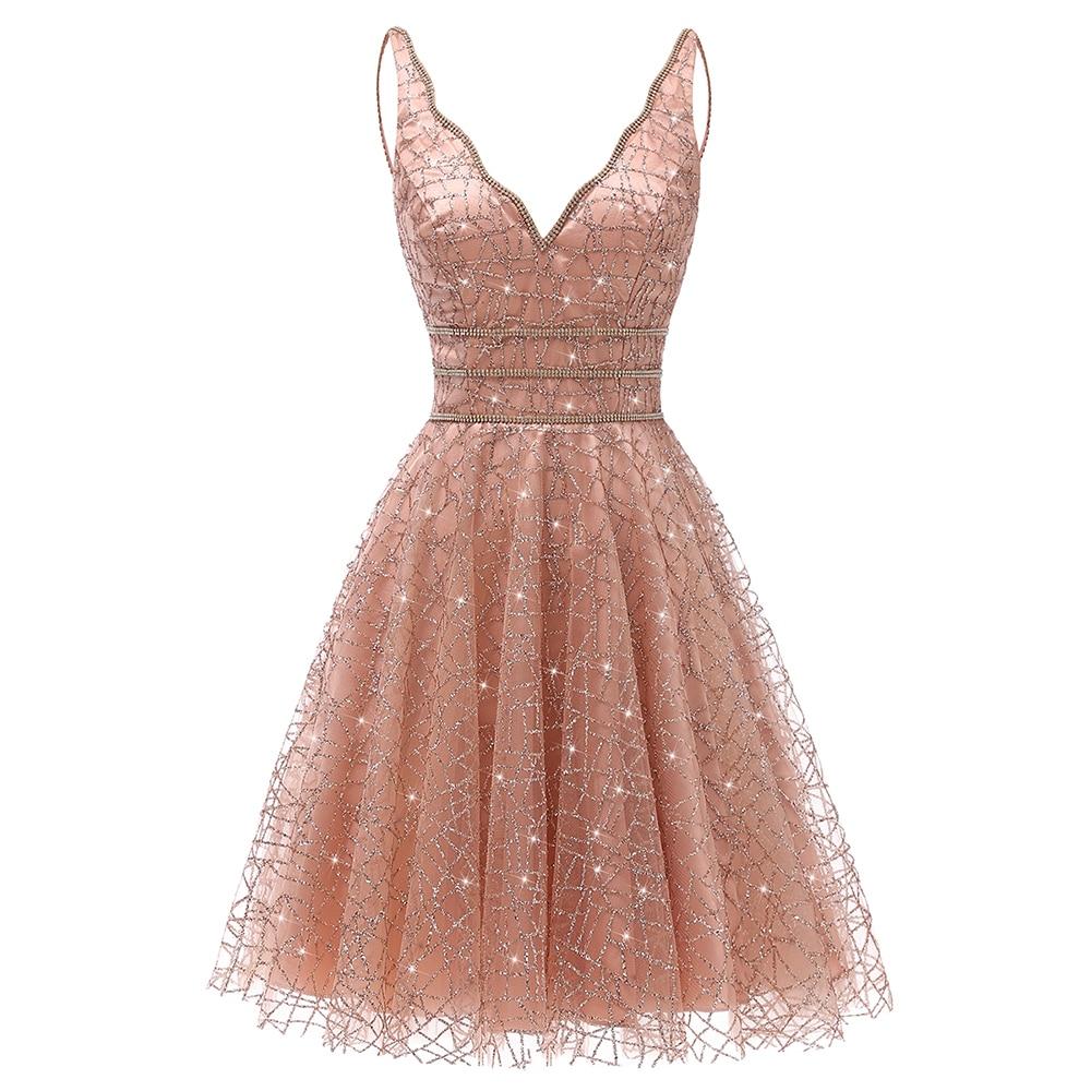 VKbridal Glitter Deep V-neck Mini Length Crystal Graduation Dress Sparkling Prom Gowns Junior For Girl Short Homecoming Dresses