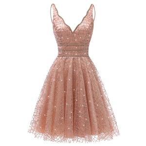 Image 1 - VKbridal Glitter Deep V neck Mini Length Crystal Graduation Dress Sparkling Prom Gowns Junior for Girl Short Homecoming Dresses