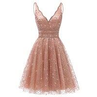 VKbridal Glitter Deep V neck Mini Length Crystal Graduation Dress Sparkling Prom Gowns Junior for Girl Short Homecoming Dresses