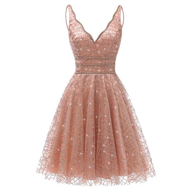 VKbridal/блестящее мини платье с глубоким v образным вырезом и кристаллами для выпускного вечера, сверкающие платья для выпускного вечера, короткие платья для девочек