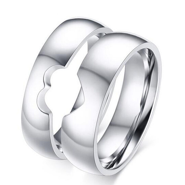 Silver Color Alliance Ring Quality Stainless Steel Love Ring Wedding Couple Ring