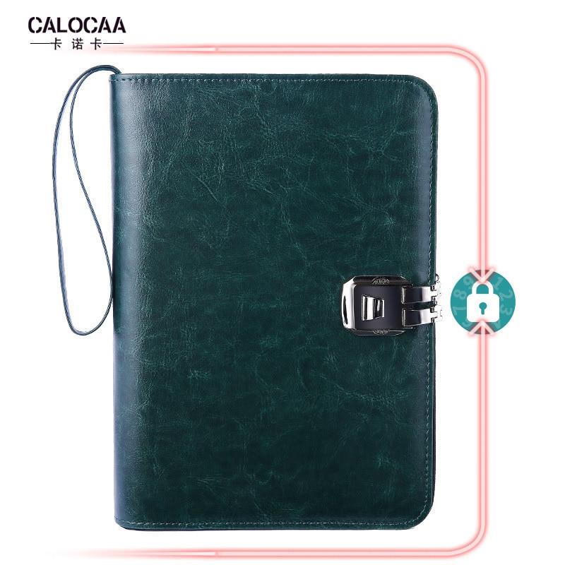 Multifonction en cuir Business Notebook A5 liant spirale Journal Journal planificateur Agenda stockage Zipper mot de passe travail carnet de notes