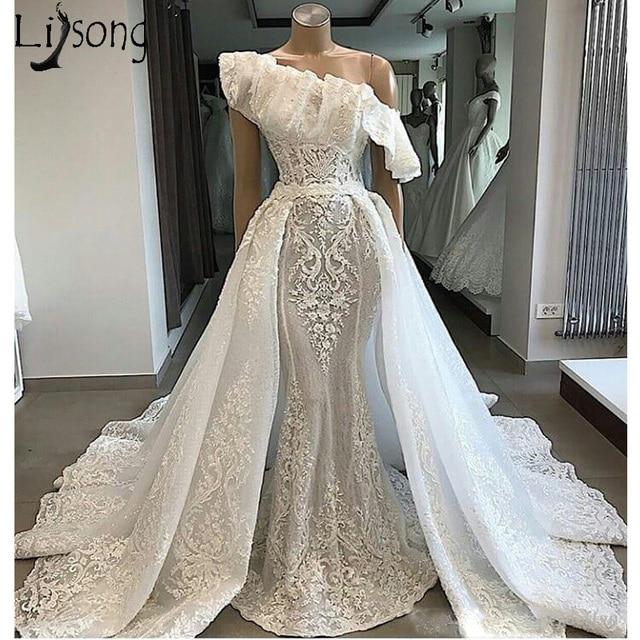Real Photos One Shoulder Lace Wedding Dress With Detachable Court Train Applique Mermaid Bride Dress robe de mariee
