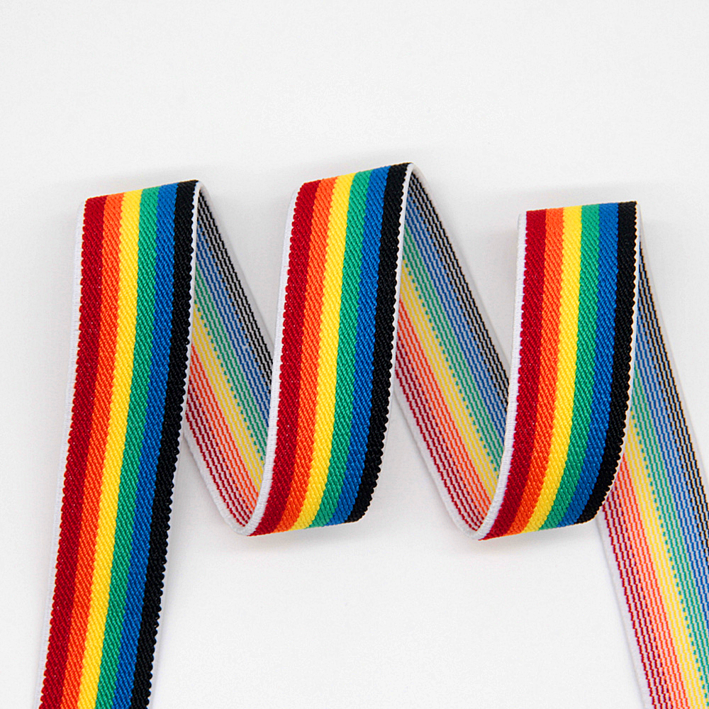 <font><b>25mm</b></font> 38mm Rainbow Stripe <font><b>Elastic</b></font> Bands Shoulder Bottom Straps Rubber Band for DIY Webbing Garment Underwear Sewing Accessories1M image