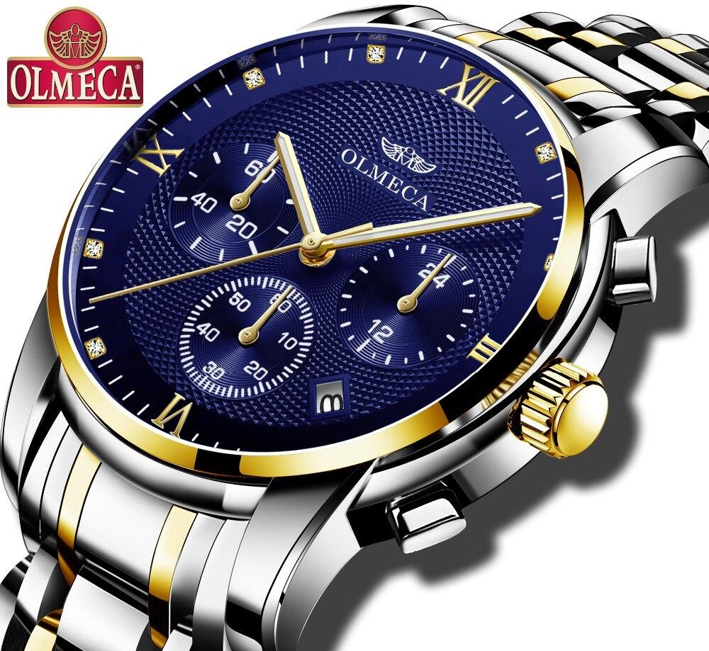 OLMECA Diamond Watches Men's Watch Military Wristwatches Quartz  Stainless Steel Drop-Shipping