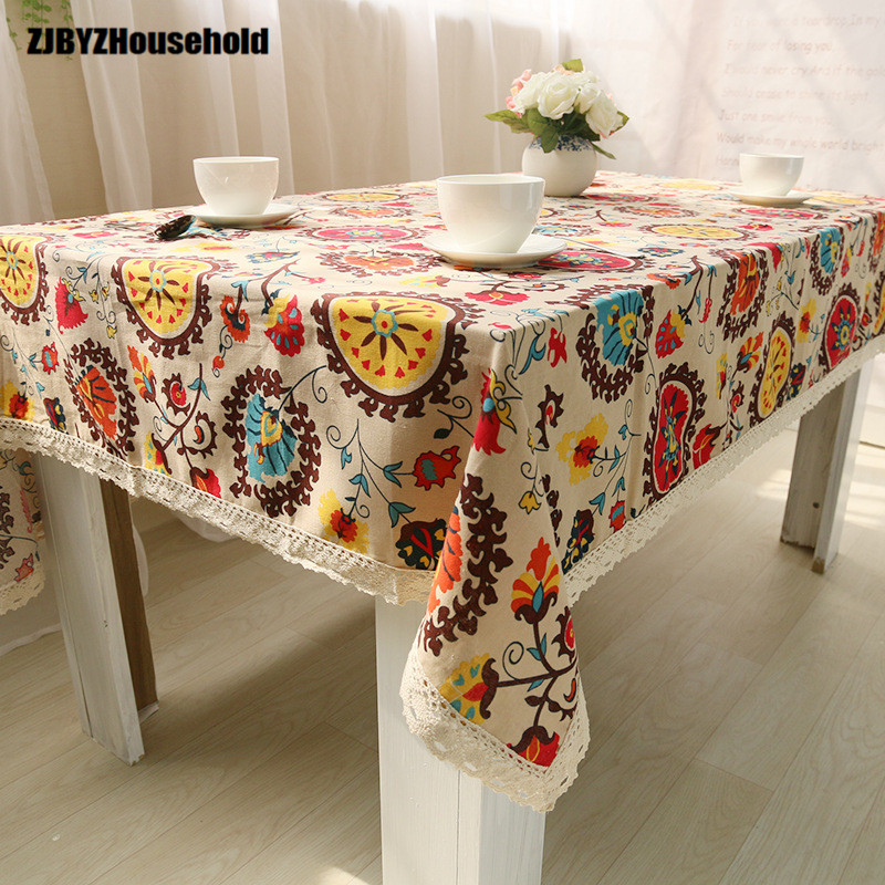 Printing Field Cotton and Linen National Wind Sunflower Antependium Cloth Refrigerator Cover Tea Table Cloth Art Western Food