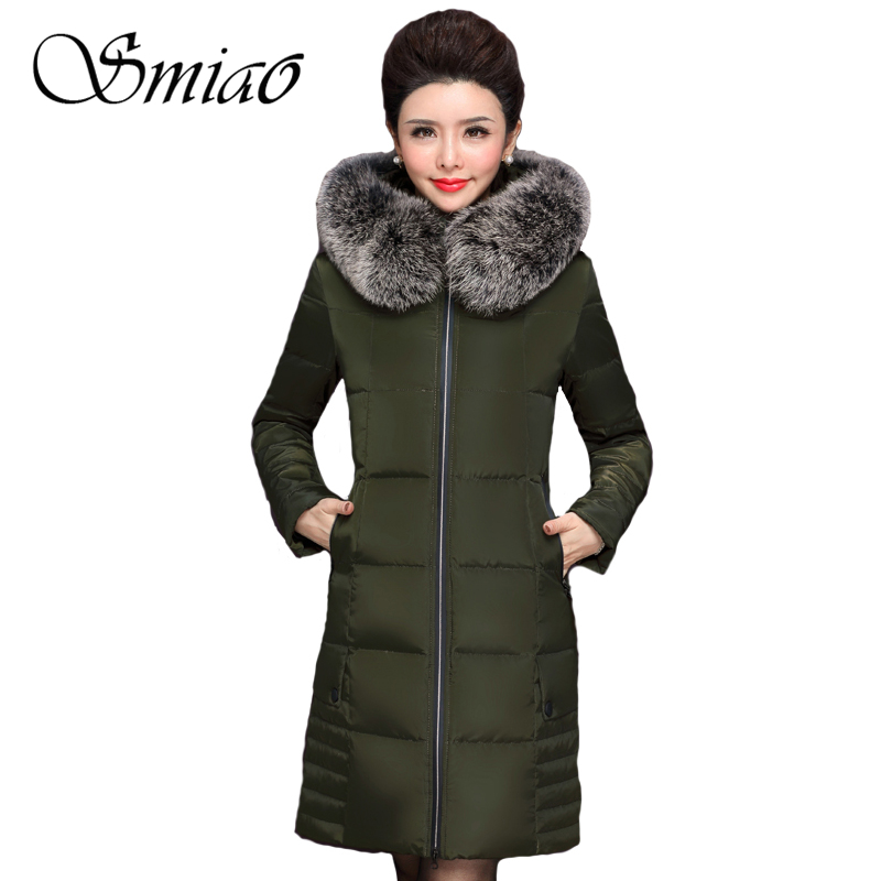 Smiao 2017 True Fox Fur Collar 70% White Duck Down Warm Women Winter Coat Hooded Women Jacket Long Women Parka Female Overcoat winter high end white duck down women jacket long real fox fur collar thickening hooded solid color warm outerwear coat mz1921