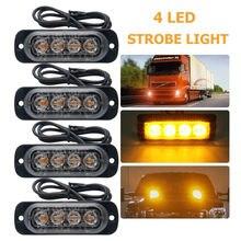 4×4 LED Strobe Flash Light Emergência Luz de Advertência Do veículo Do Carro Piscando Lâmpada Âmbar