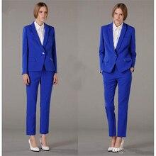Royal Blue Business Pants Suits for Women Office Uniform Style 2 Piece Set