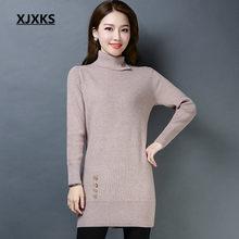 XJXKS Lady s Sweater Dress Fashion 2018 Autumn Long Sweater For Women Pull  Femme Woman Sweater Pullovers Long Sleeve Jumper 1b468f3788b5