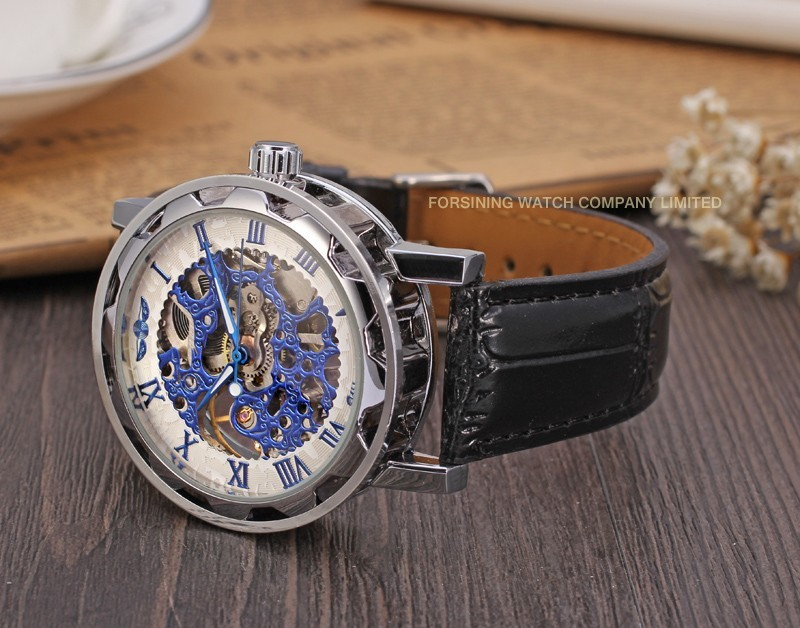 Winner Men Automatic Watch Black Case White Dial Blue Numerals