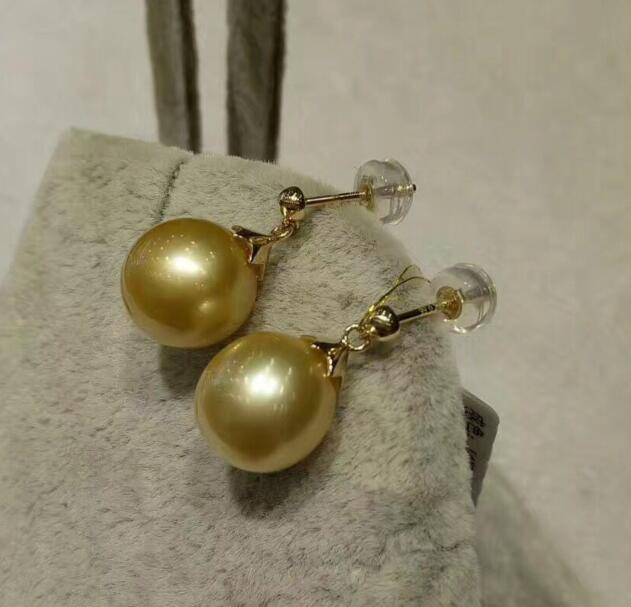 yellow 10-11MM AAA SOUTH SEA PEARL DANGLE EARRINGyellow 10-11MM AAA SOUTH SEA PEARL DANGLE EARRING