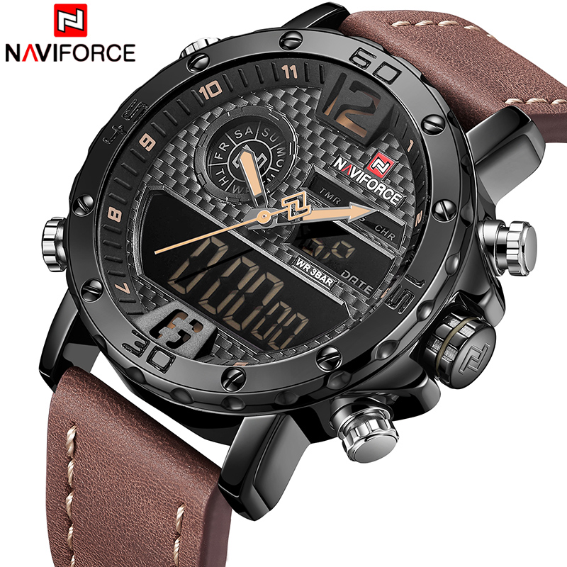 NAVIFORCE New Men Military Sport Watches Luxury Brand Men's Leather Quartz Watch Male Led Analog Digital Clock Relogio Masculino genuine leather women wallets crocodile 3d head fashion clutch purse wallet alligator pattern long wallet women carteira