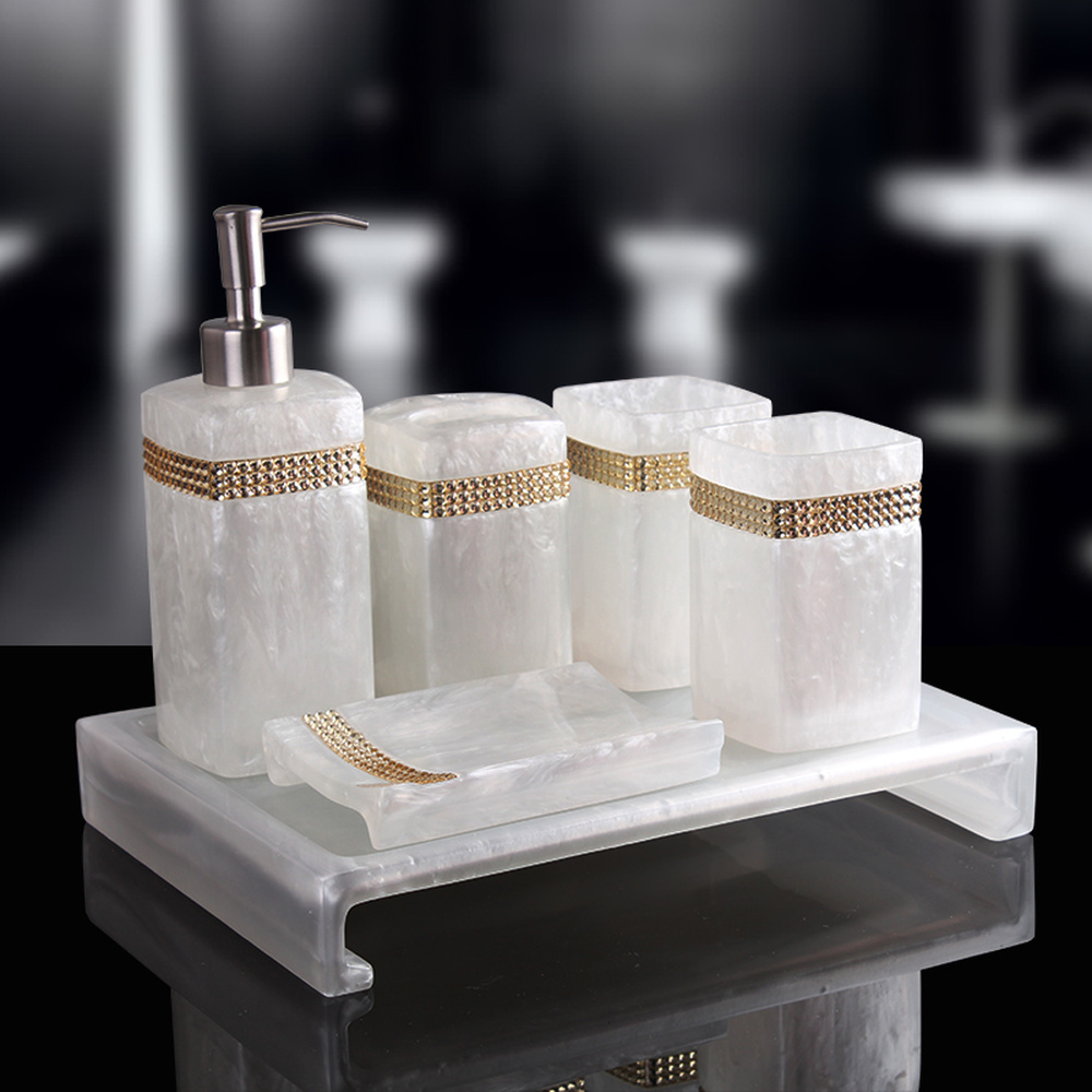 Modern bathroom set five-piece set High-grade mouthwash cup wash creative bathroom supplies kit pure white beads LO723514 south shore 3 piece bookcase set in pure white
