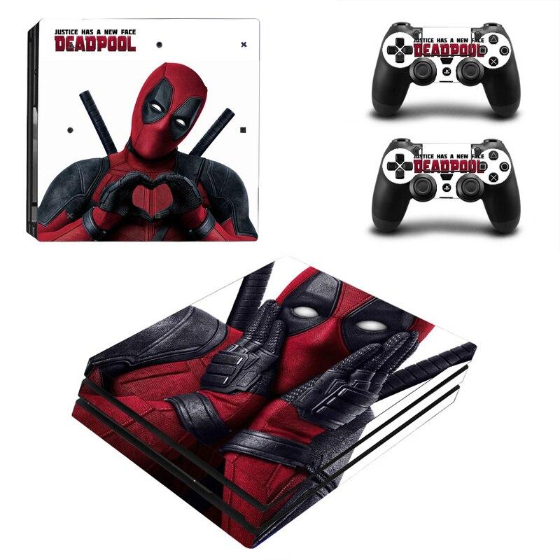Deadpool Vinylhaut-aufkleber für Sony PS4 Pro Konsole und 2 Controller Aufkleber Abdeckung Spiel Zubehör