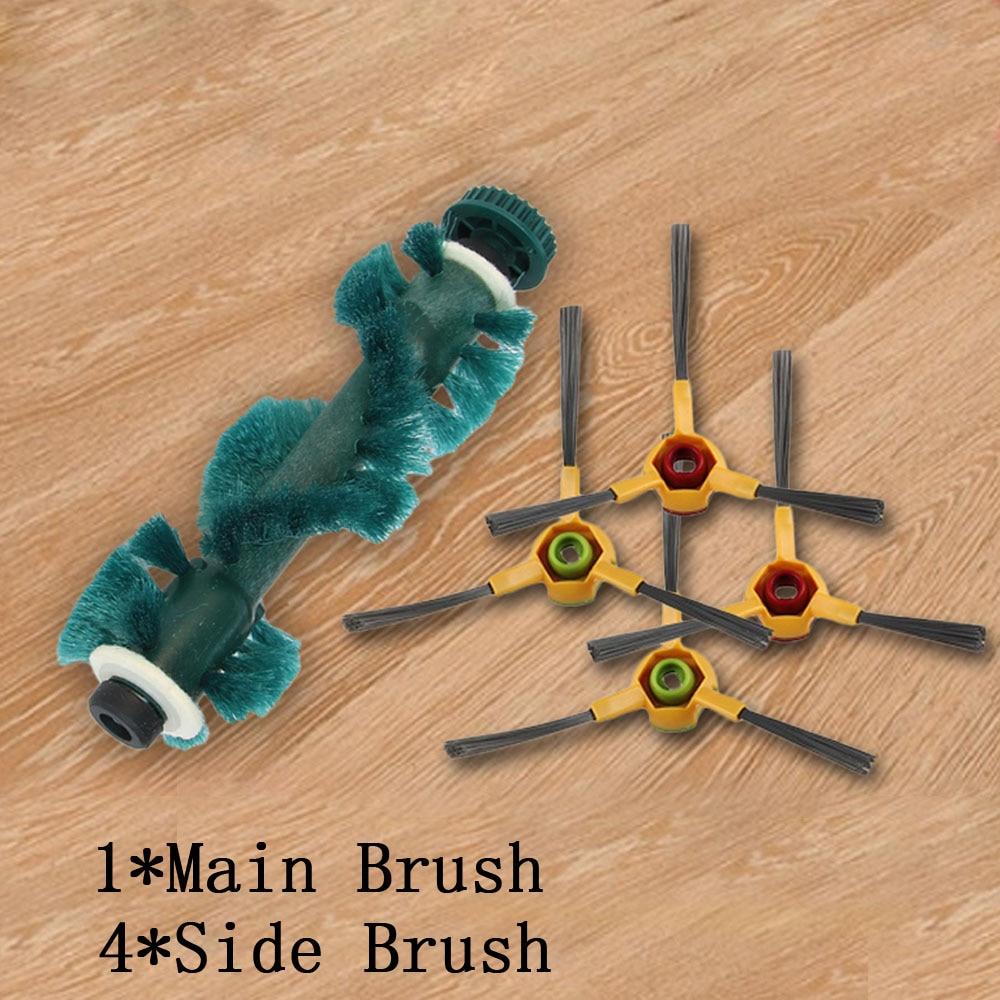 5Pcs/lot 1Pc Main Agitator Brush and 4Pcs Side Brush for Ecovacs Deebot Deeboo D73 D76 D77 Vacuum Cleaner Turbo Brush Parts комплект для уборки ecovacs d76