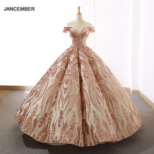 J66661 jancember ball gowns women quinceanera dresses sweetheart off the shoulder floor length pattern lace estidos de xv a os(China)