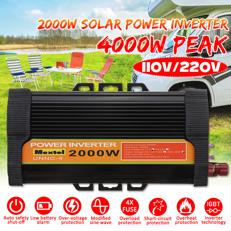 Power Inverter 2000W DC 12 V to AC 220 V Volt USB Car Adapter Charge Converter Modified Sine Wave Max 4000 Watts Transformer