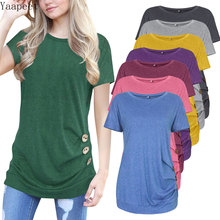 Ladies New Explosion Short Sleeve Tops T-Shirts Solid Color Round Neck Splicing Pullover Slim Button Decoration Women's T-Shirts стоимость