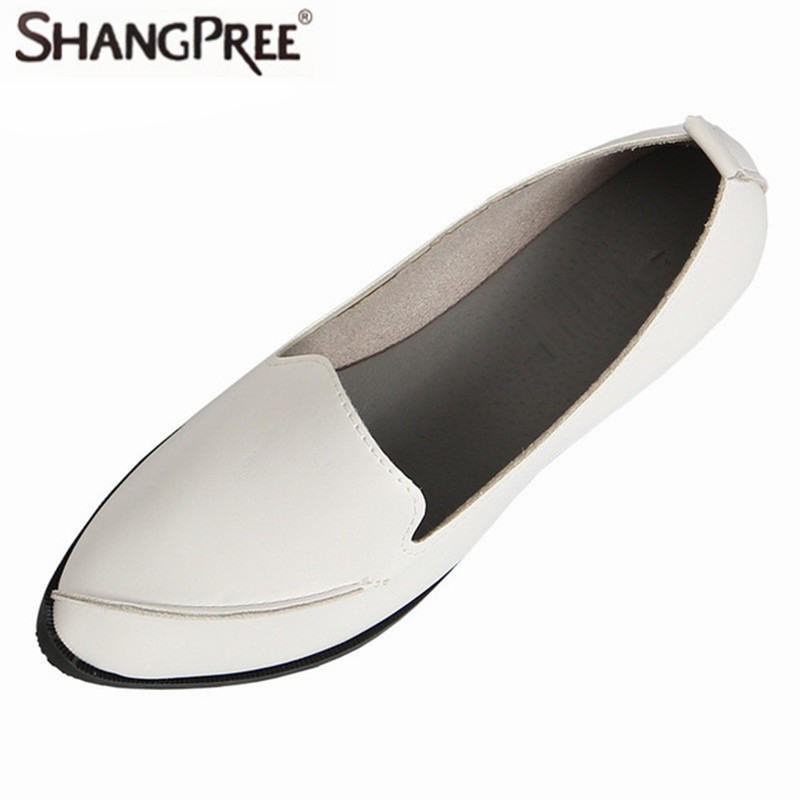 Hot 2017 Spring Autumn Women flats hoes Leather Pointed Toe Flats Woman light Slip-On Casual Shoes With Sewing Flats Shoe pu pointed toe flats with eyelet strap