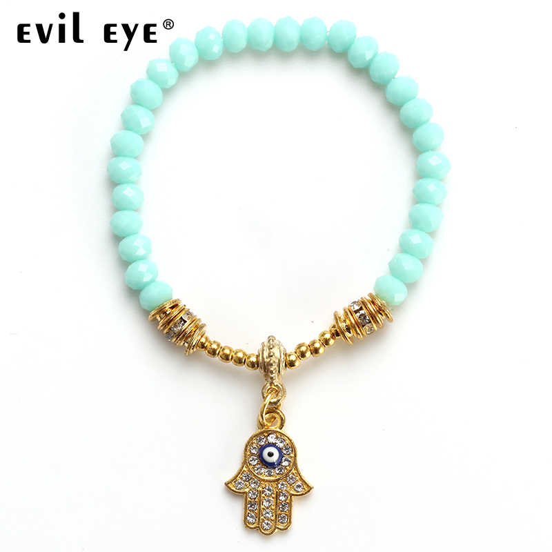 EVIL EYE 2018 คริสตัลลูกปัดสร้อยข้อมือโลหะผสม Golden Hassam ปาล์มและ Blue Eye สำหรับสตรี EY2633