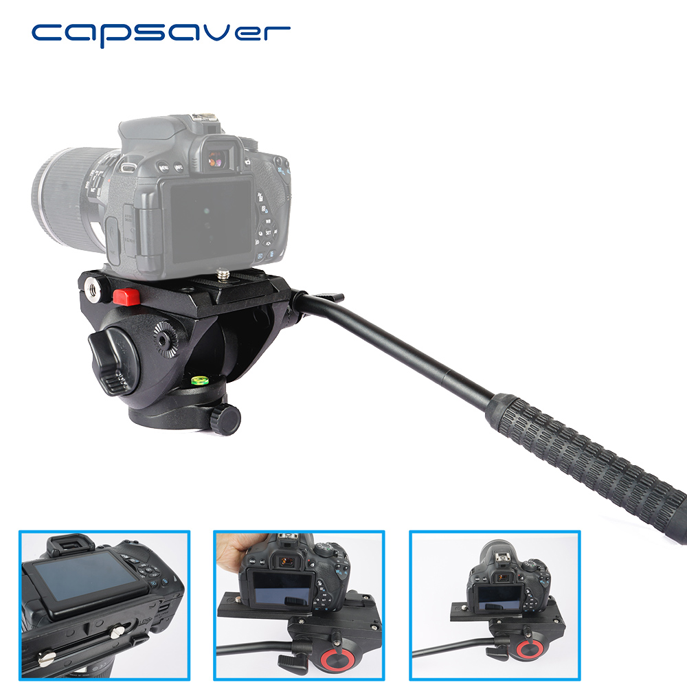 capsaver Video Photography Fluid Head Hydraulic Tripod Head Quick Release Plate Bubble Levels Panoramic Shooting Bird Watching asxmov alum 8kg payload hydraulic tripod head panoramic head for camera video shooting photography tripod head