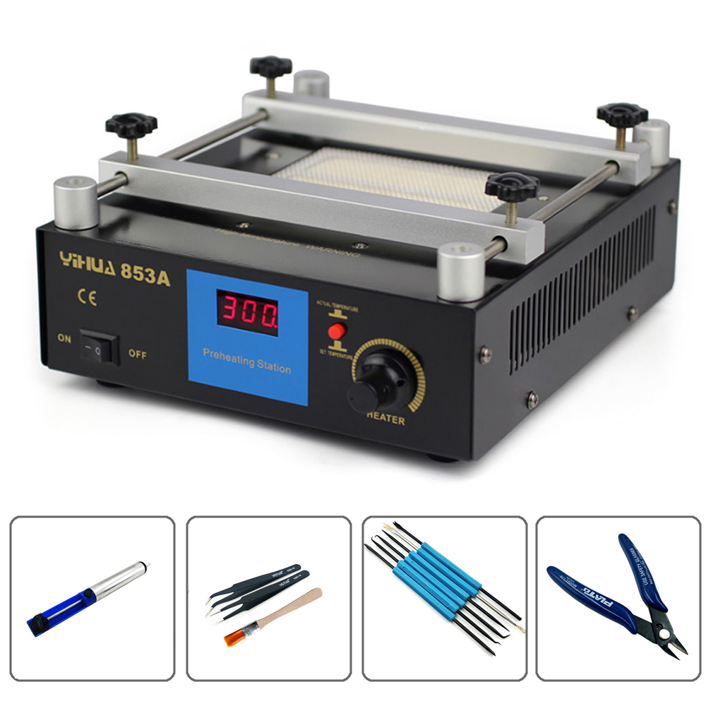 YIHUA 853A Digital Constant temperature Preheat Soldering Station Anti Static BGA Rework Station Mobile Phone Preheater