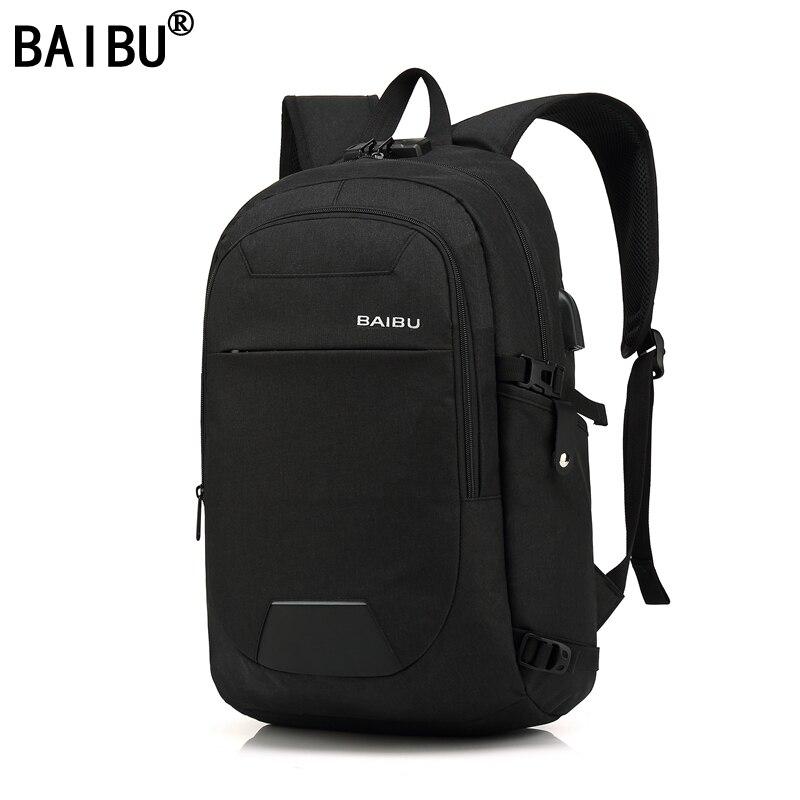 BAIBU NEW Men design Anti-theft USB Charging Travel Backpack Men school bag Large 15.6
