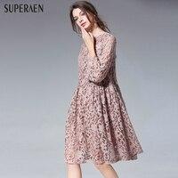 SuperAen Europe 2018 Spring New Women Fashion Dress Loose Pluz Size Lace Ladies Dress Flared Sleeve