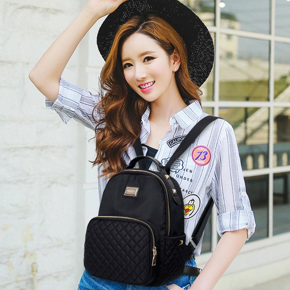Female Backpack Preppy Style Nylon Women Backpack High Qulaity Shoulder Bags Student Bag Black Backpack A2217 #2